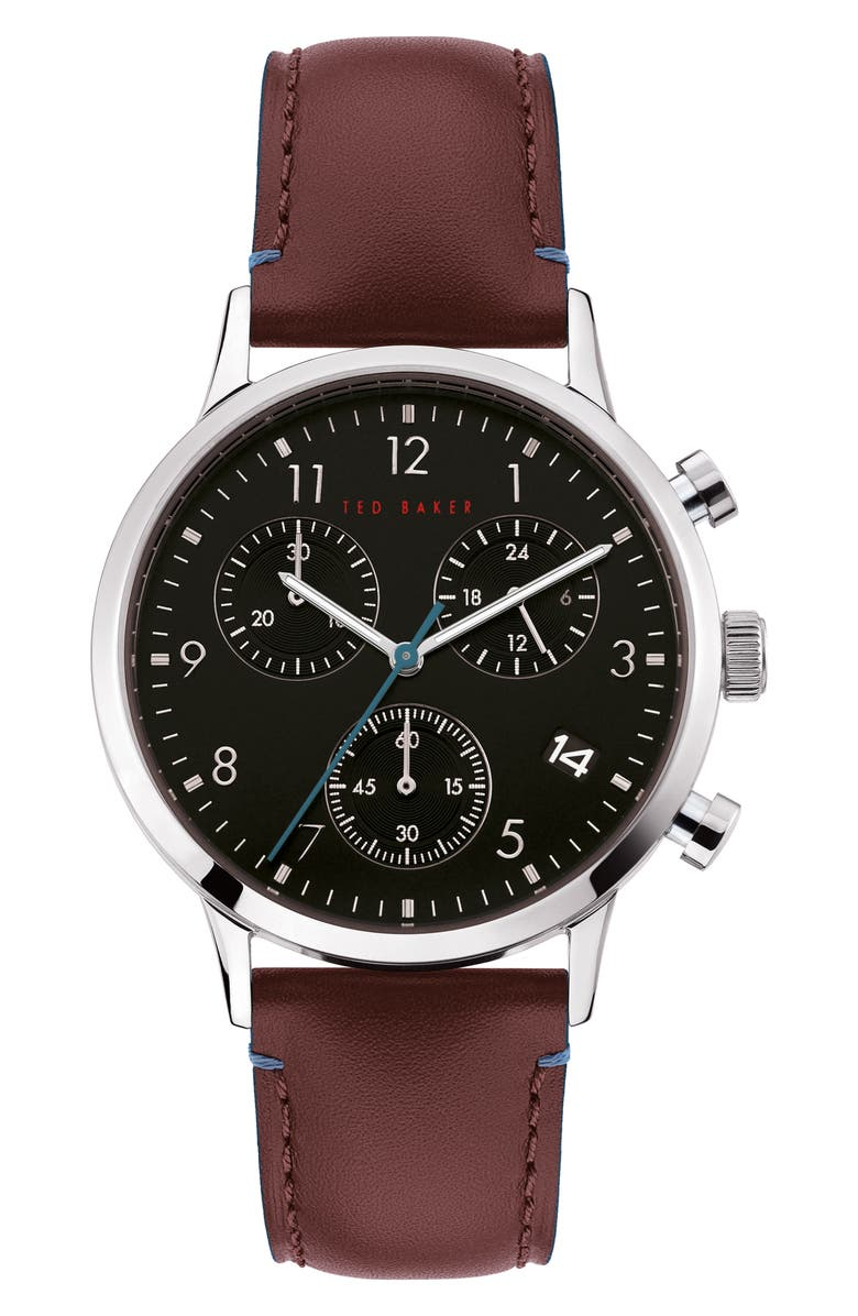 TED BAKER LONDON Cosmop Chronograph Leather Strap Watch, 40mm, Main, color, PURPLE/ BLACK/ SILVER