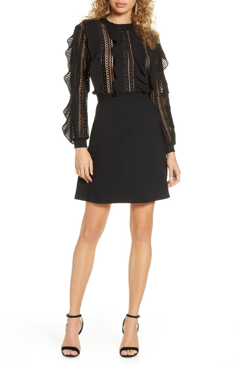 FRENCH CONNECTION Patricia Long Sleeve Lace Dress, Main, color, BLACK/ BLACK