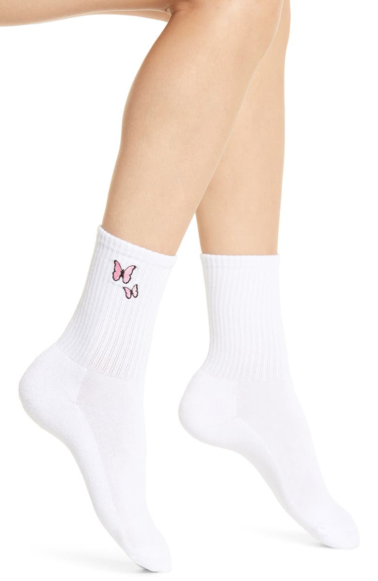 PRIMA Butterfly Patch Crew Socks, Main, color, 650