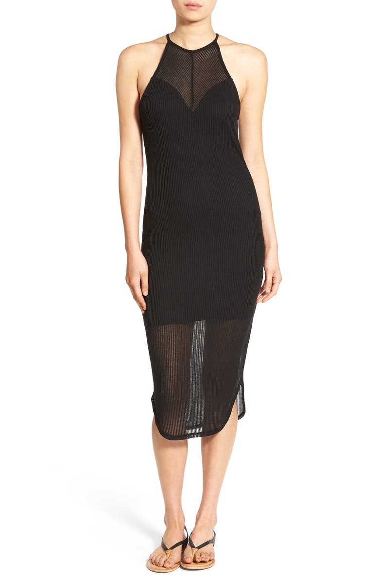 PAINTED THREADS High Neck Illusion Body-Con Dress, Main, color, 001