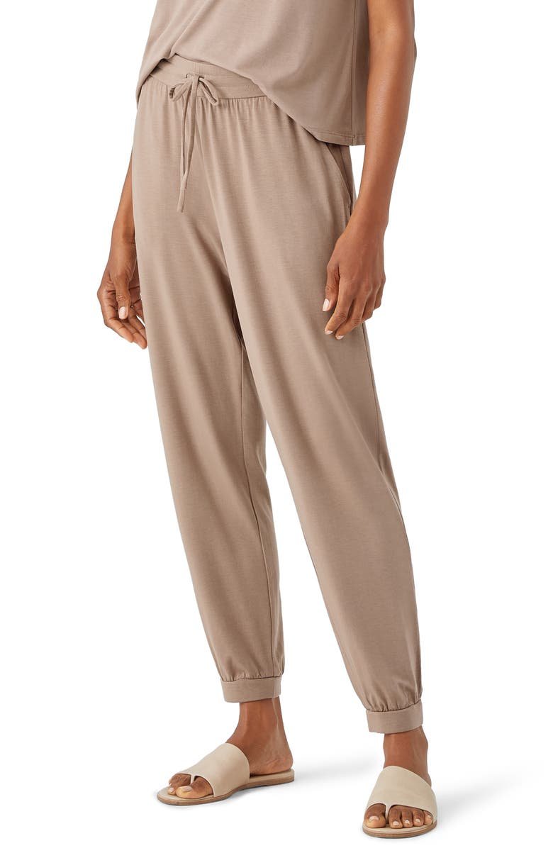 EILEEN FISHER Slouchy Jersey Pants, Main, color, BARLEY