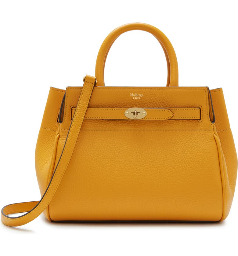MULBERRY Small Belted Bayswater Convertible Leather Satchel, Main, color, DEEP AMBER