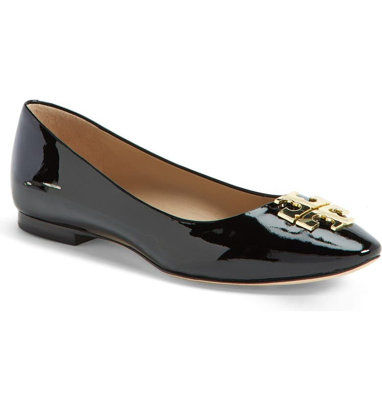 TORY BURCH 'Raleigh' Leather Flat, Main, color, 001