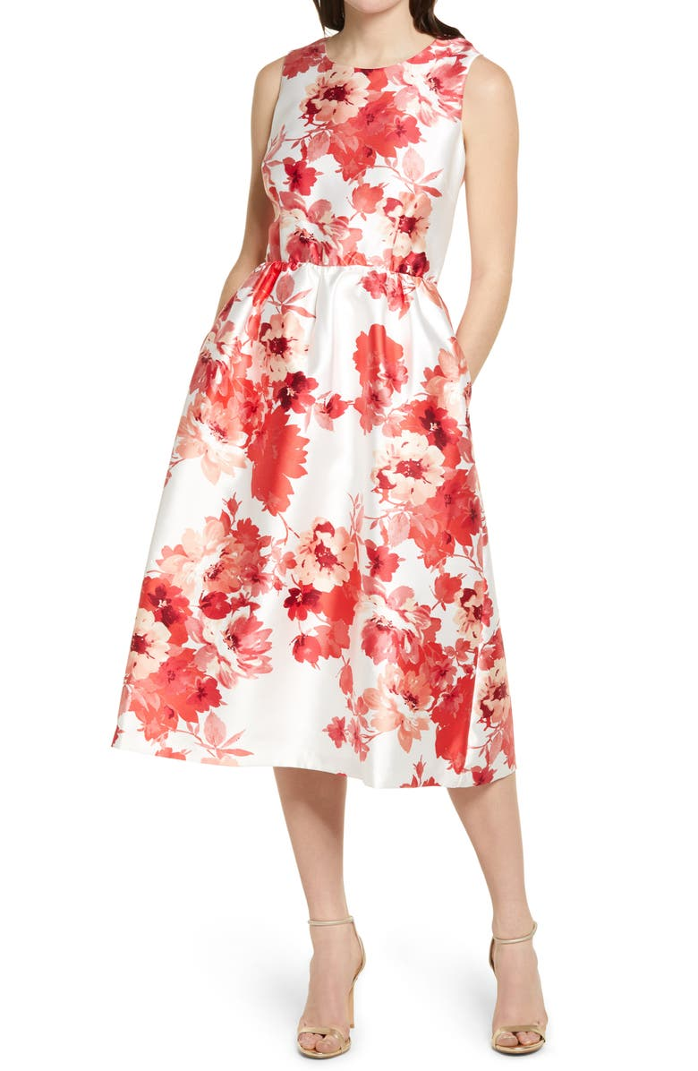 DONNA RICCO Floral Mikado Fit & Flare Dress, Main, color, IVORY/ CORAL