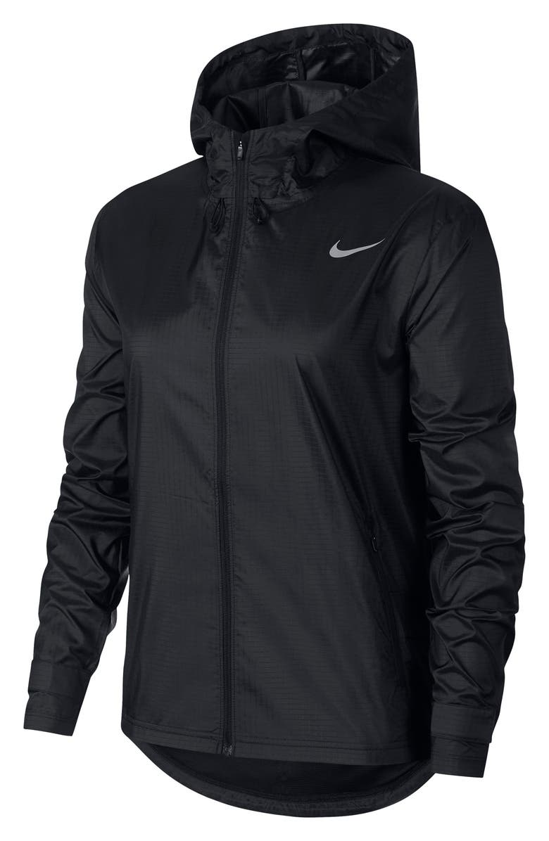 NIKE Essential Water Repellent Running Jacket, Main, color, BLACK/ REFLECTIVE SILVER