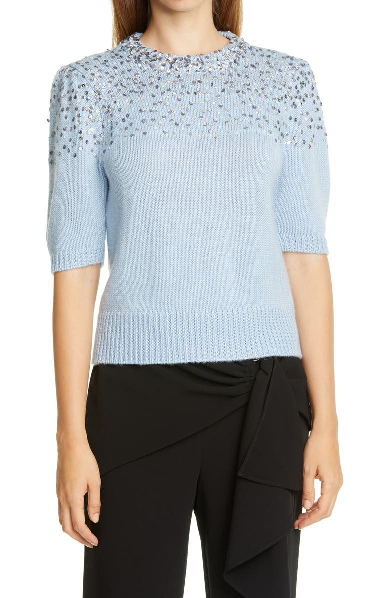 CINQ A SEPT Lisa Sequin Puff Sleeve Sweater, Main, color, CLOUDY DAY