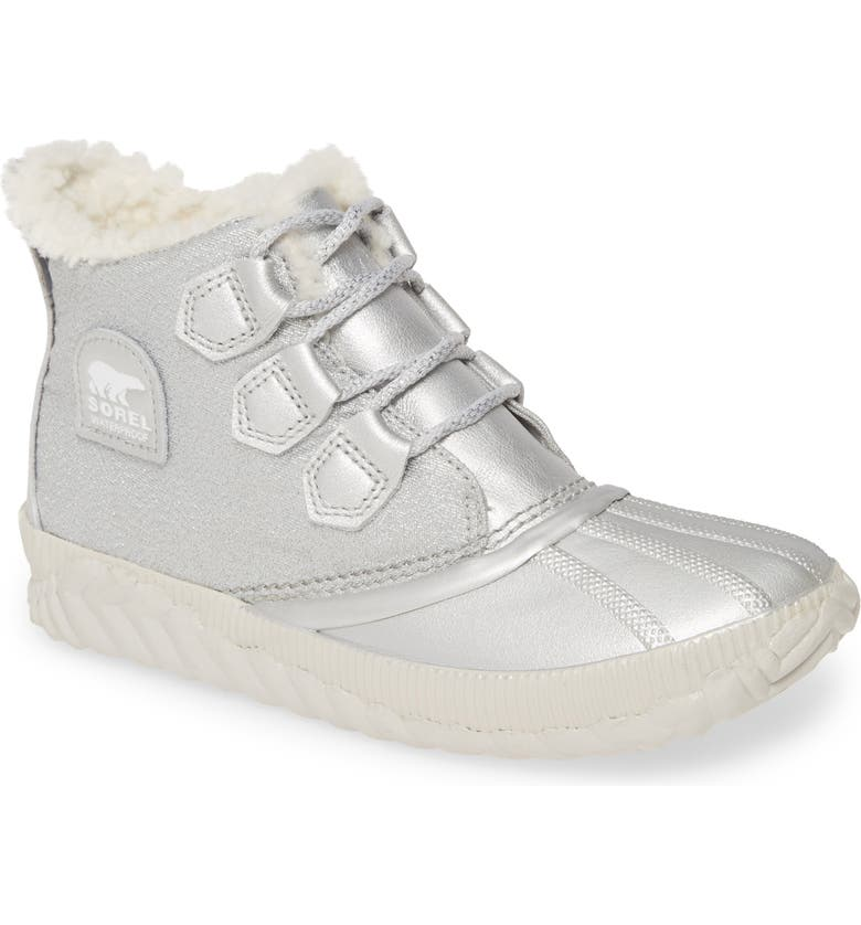 SOREL x Disney Frozen Out 'N About? Waterproof Faux Shearling Bootie, Main, color, PURE SILVER LEATHER