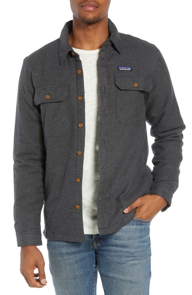 PATAGONIA 'Fjord' Flannel Shirt Jacket, Main, color, FORGE GREY