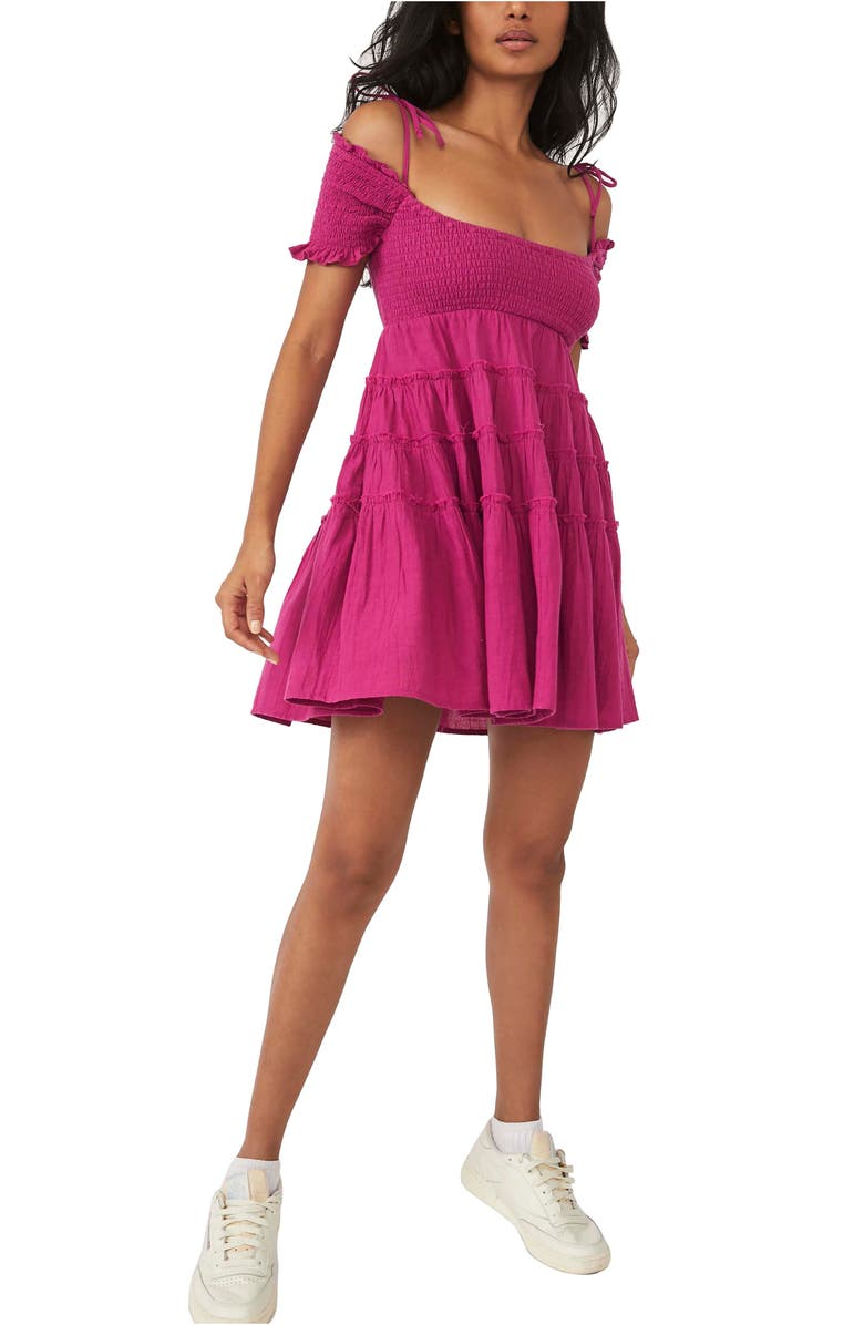 FREE PEOPLE Happy with You Cold Shoulder Minidress, Main, color, AZALEA