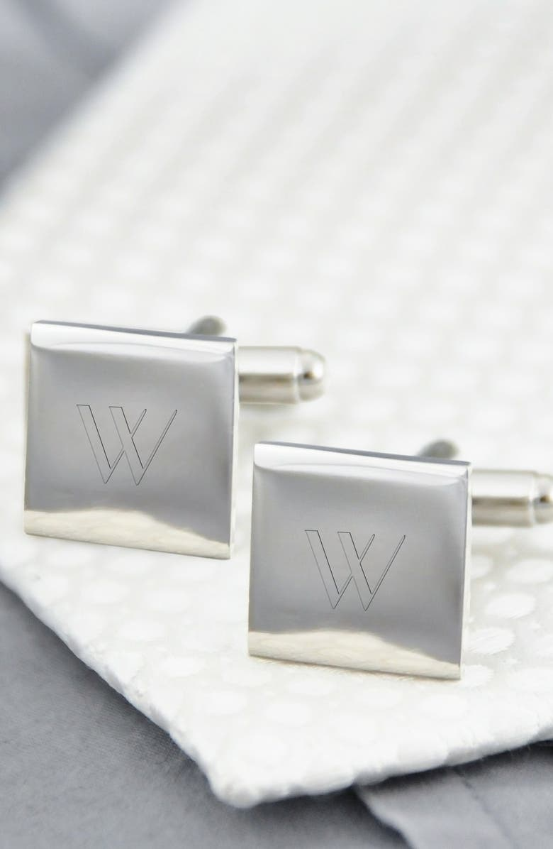 CATHY'S CONCEPTS Monogram Square Cuff Links, Main, color, W