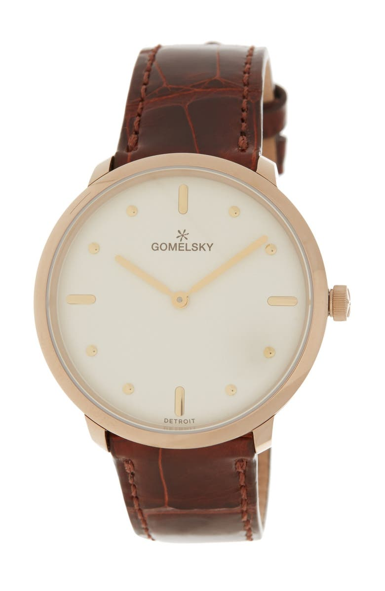 GOMELSKY BY SHINOLA Women's Audry Chestnut Genuine Alligator Strap Watch, 36mm, Main, color, NO COLOR