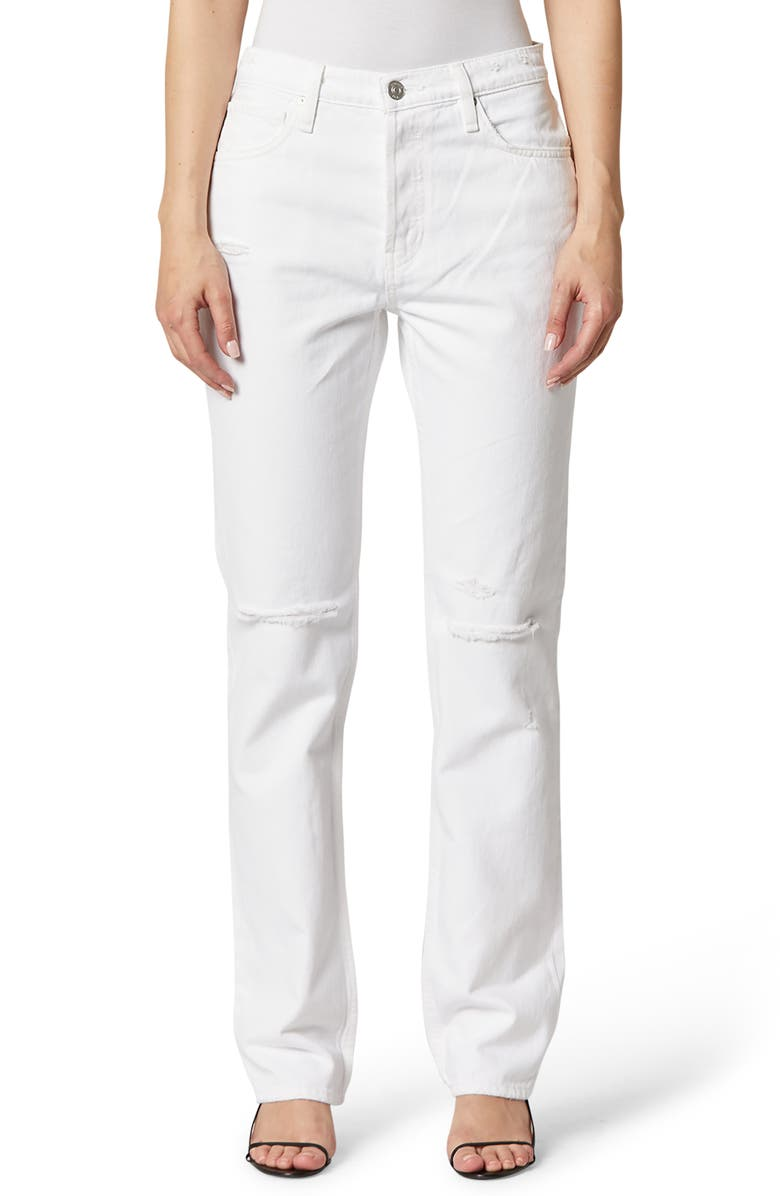 HUDSON JEANS Thalia Ripped High Waist Loose Fit Jeans, Main, color, WORN WHITE