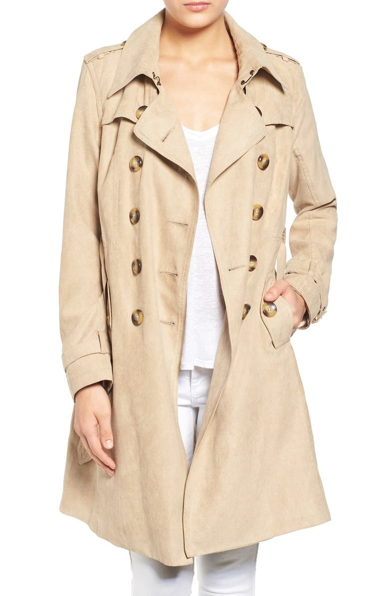 STEVE MADDEN Faux Suede Trench Coat, Main, color, 257