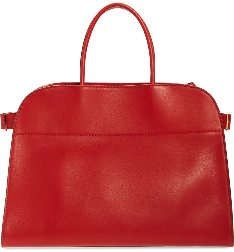 THE ROW Margaux 17 Leather Bag, Main, color, RUBY RED