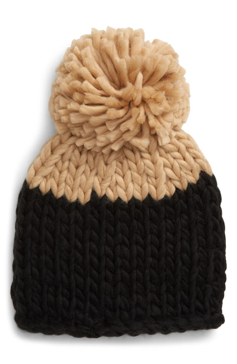 FREE PEOPLE Cozy Up Colorblock Pom Beanie, Main, color, 001