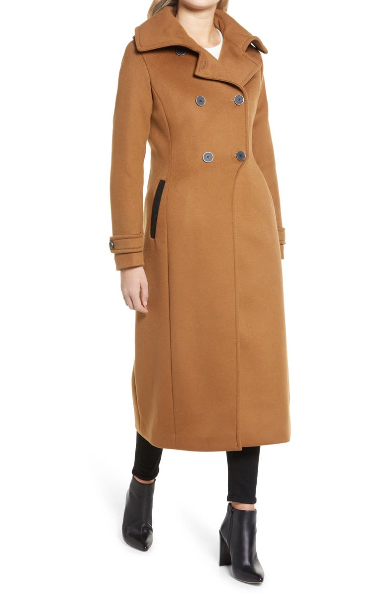 MACKAGE Elodie Double Breasted Military Maxi Coat, Main, color, CAMEL