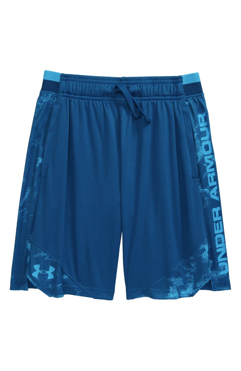 UNDER ARMOUR Stunt 2.0 Athletic Shorts, Main, color, GRAPHITE BLUE/ ELECTRIC BLUE
