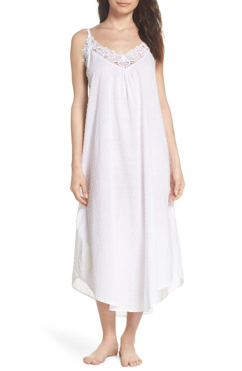PAPINELLE Swiss Dot Nightgown, Main, color, WHITE