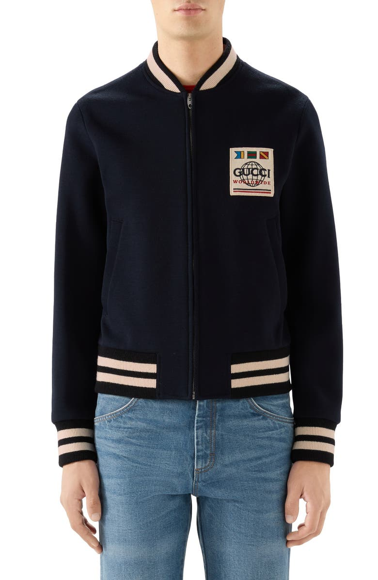 GUCCI Wool Blend Jersey Bomber Jacket, Main, color, 493