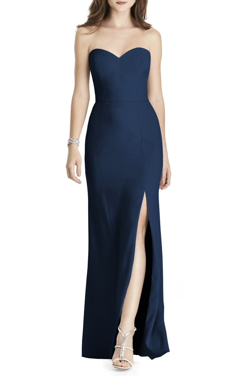AFTER SIX Strapless Crepe Trumpet Gown, Main, color, MIDNIGHT