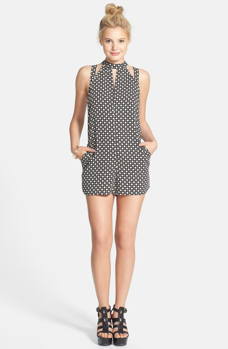ONE CLOTHING Cutout Detail High Neck Romper, Main, color, BLACK/ IVORY