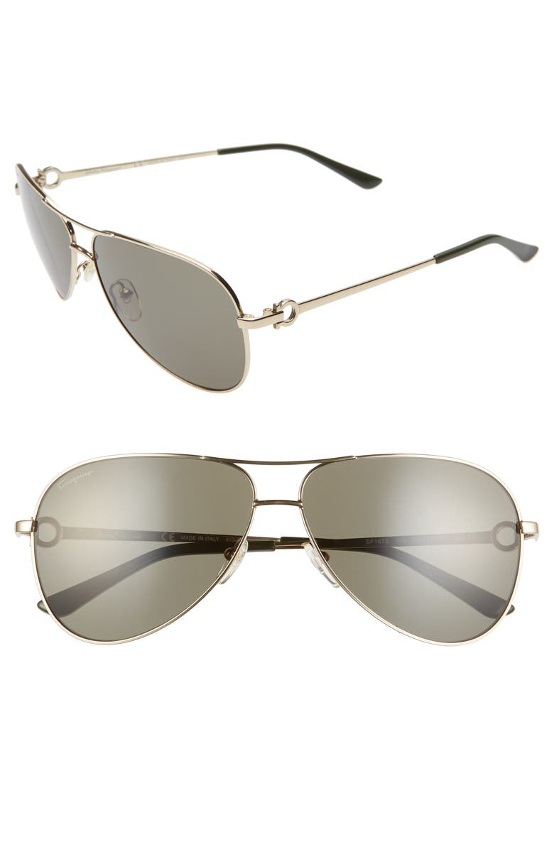 SALVATORE FERRAGAMO Gancio 62mm Aviator Sunglasses, Main, color, SHINY YELLOW GOLD
