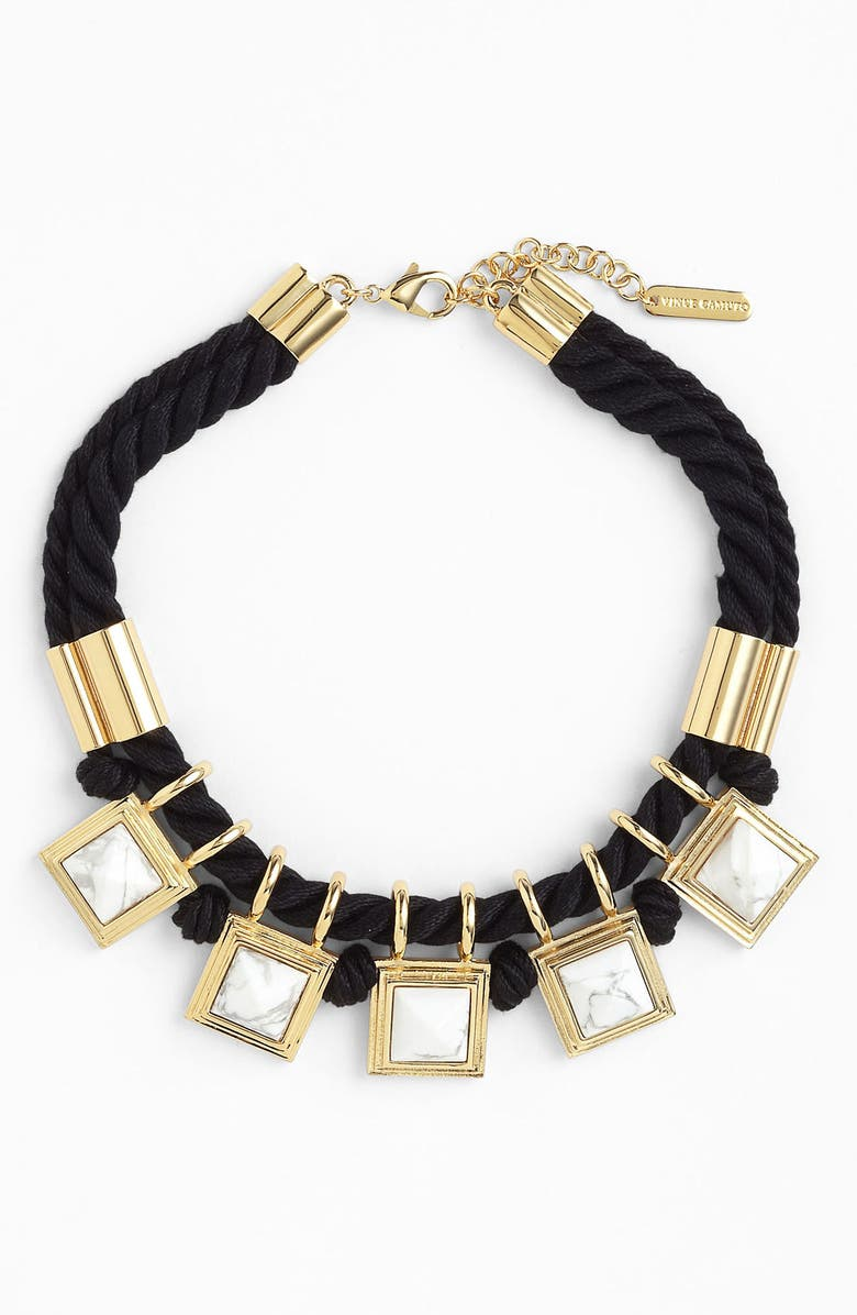 VINCE CAMUTO 'Pyramid Rocks' Collar Necklace, Main, color, WHITE/ GOLD/ BLACK