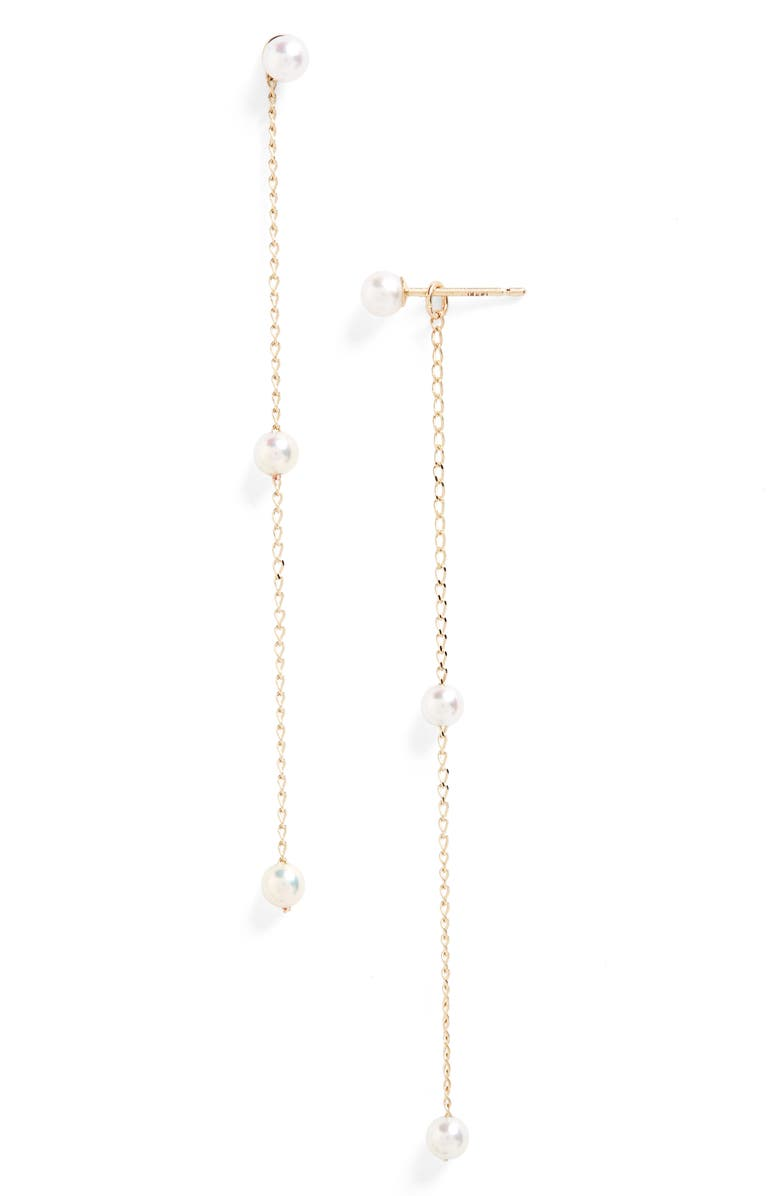 MIZUKI Sea of Beauty Pearl Convertible Drop Earrings, Main, color, YELLOW GOLD/ WHITE PEARL