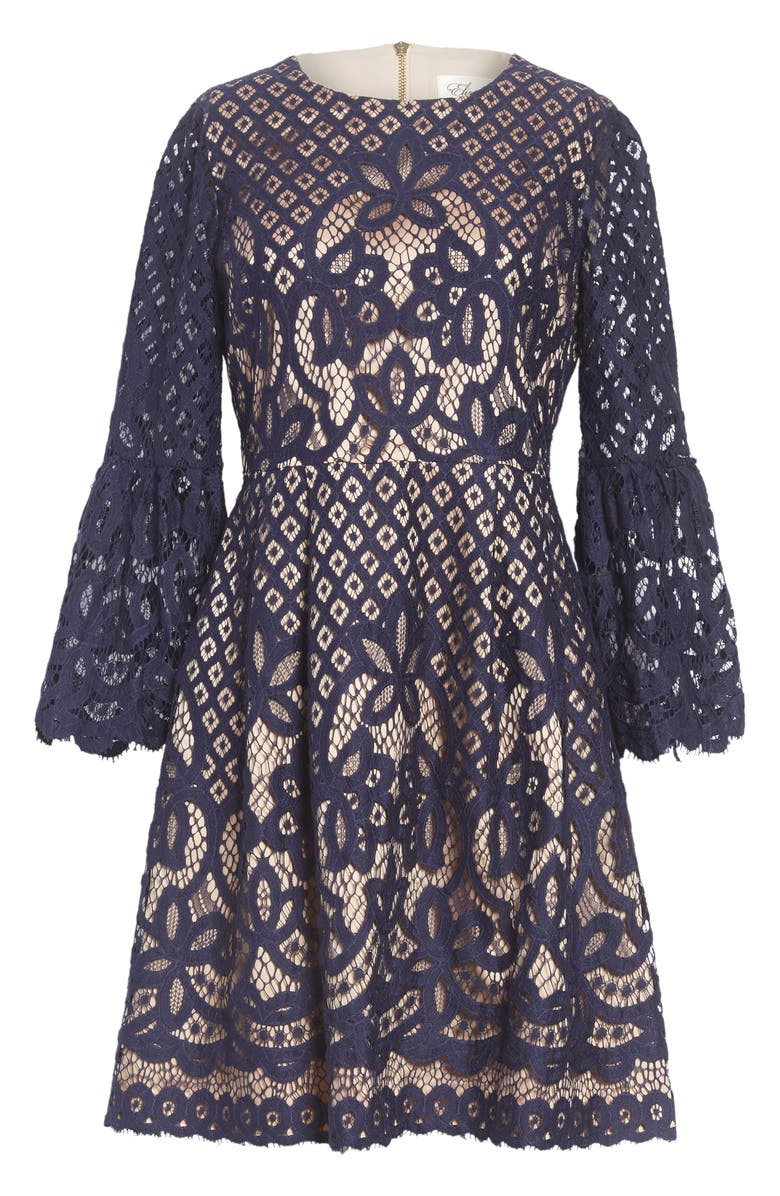 ELIZA J Bell Sleeve Lace Fit & Flare Dress, Main, color, 410