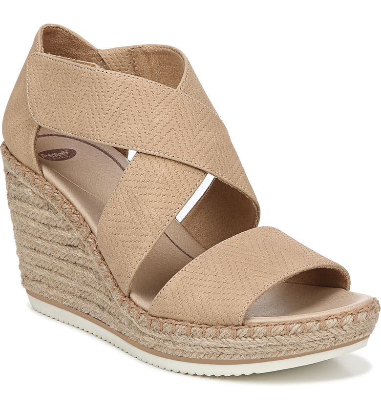 DR. SCHOLL'S Vacay Wedge Sandal, Main, color, TAN FAUX LEATHER
