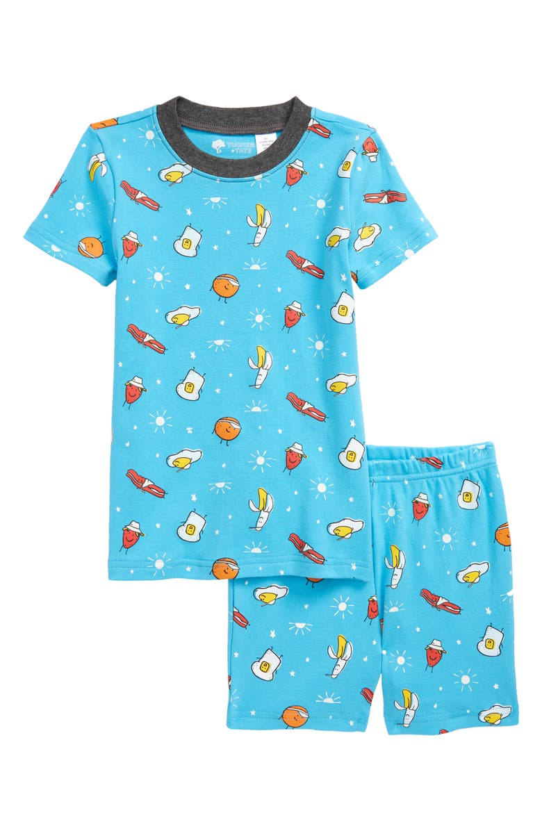 TUCKER + TATE Kids' Glow in the Dark Fitted Two-Piece Short Pajamas, Main, color, BLUE RIVER BREAKFAST GLOW