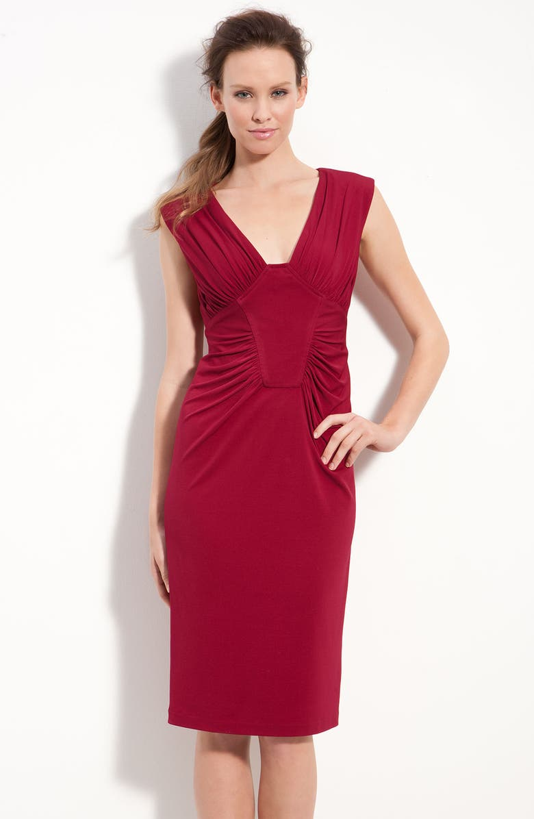 MAGGY LONDON Ruched Jersey Sheath Dress, Main, color, RED