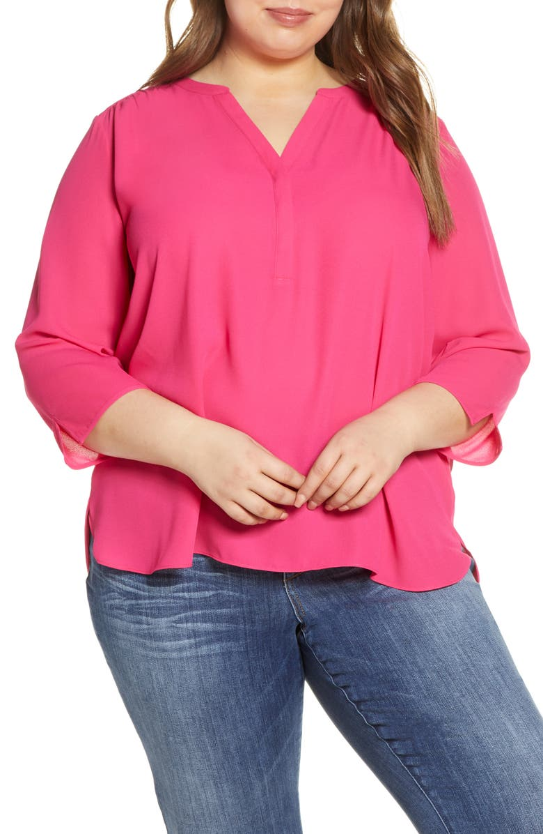 CURVES 360 BY NYDJ Perfect Blouse, Main, color, BIG PINK