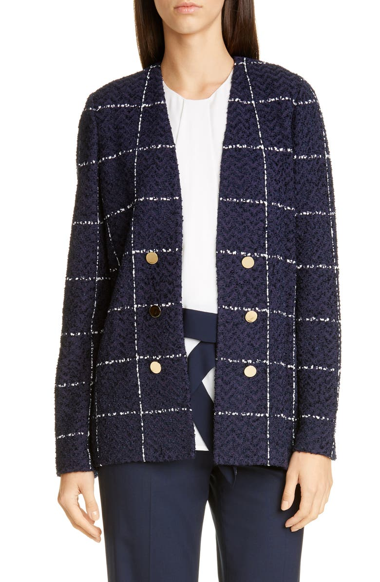 ST. JOHN COLLECTION Herringbone Grid Knit Jacket, Main, color, 400
