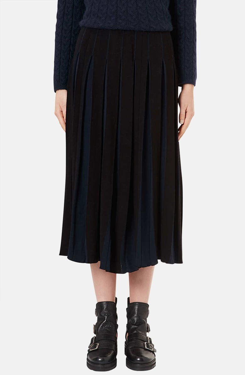 TOPSHOP BOUTIQUE Pleated Two-Tone Midi Skirt, Main, color, Black