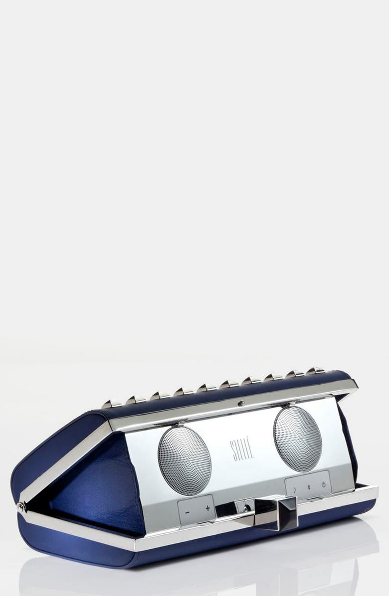 STELLE AUDIO COUTURE Rebecca Minkoff for Stellé Audio 'Studded Speaker' Clutch, Main, color, NAVY BLUE