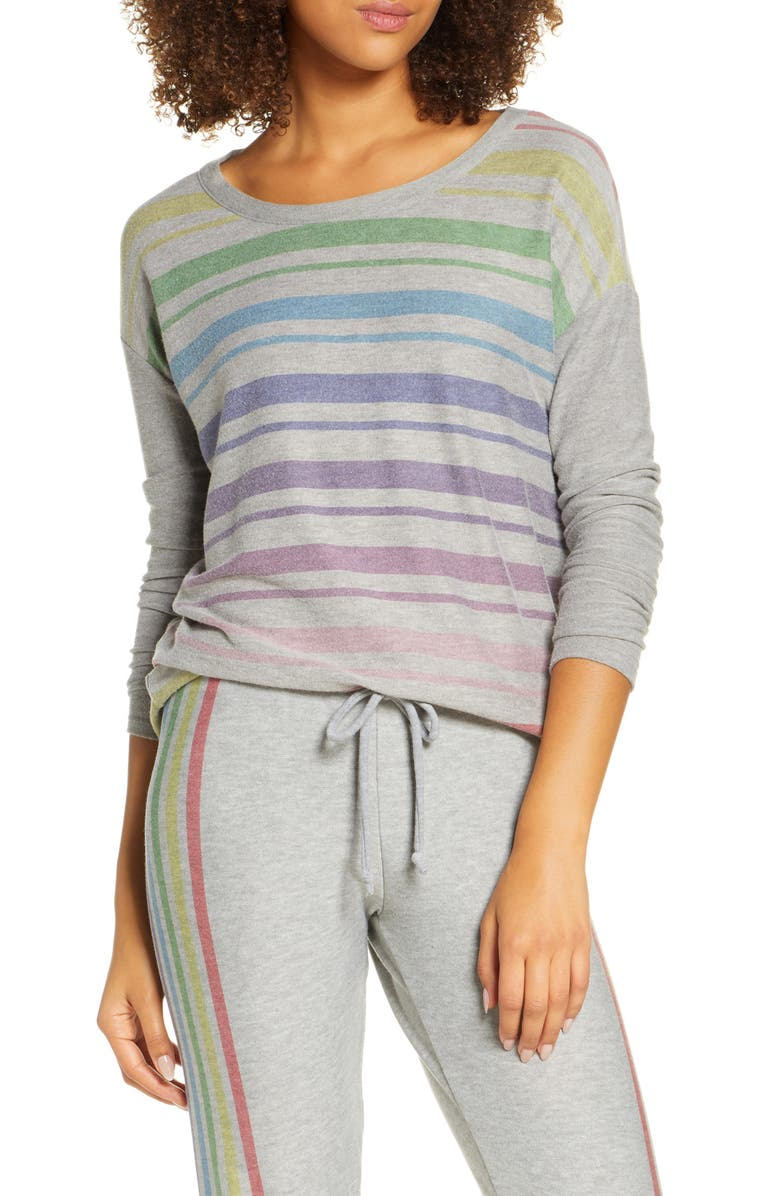 CHASER Rainbow Stripe Cozy Pullover, Main, color, 020