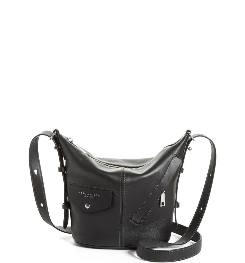 MARC JACOBS The Mini Sling Convertible Leather Hobo, Main, color, 001