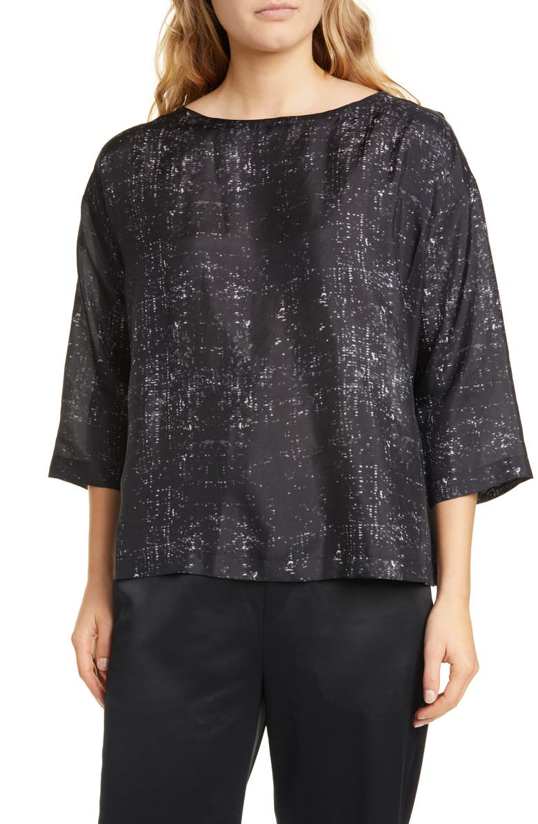 EILEEN FISHER Boxy Silk Top, Main, color, 021