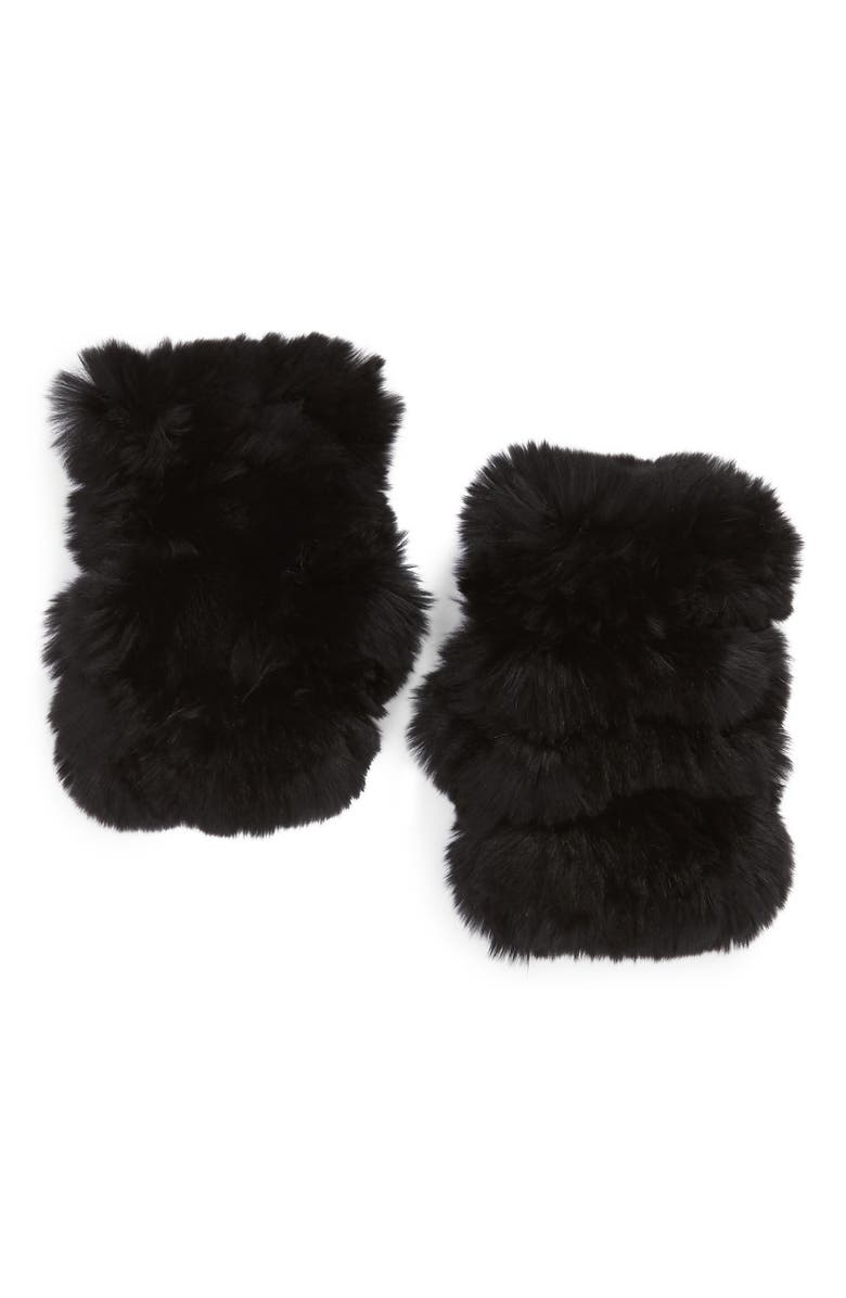 JOCELYN Mandy Genuine Rabbit Fur Open Top Mittens, Main, color, 002