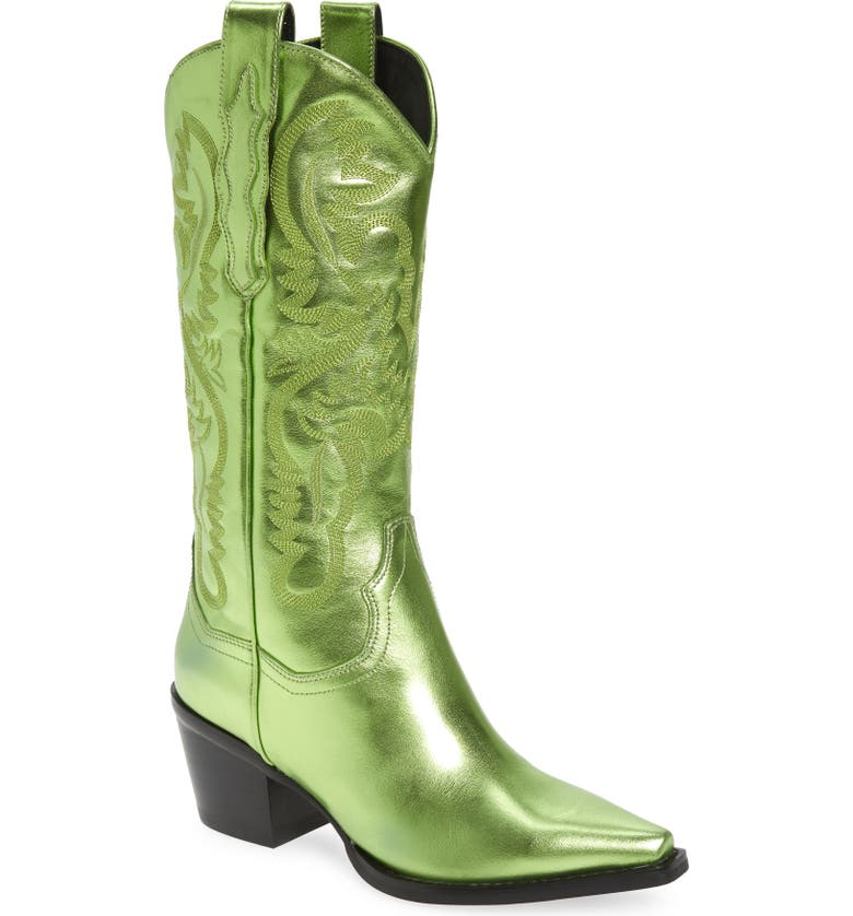 JEFFREY CAMPBELL Dagget Western Boot, Main, color, GREEN METALLIC LEATHER