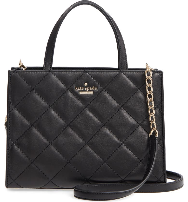 KATE SPADE NEW YORK emerson place sam quilted leather handbag, Main, color, BLACK