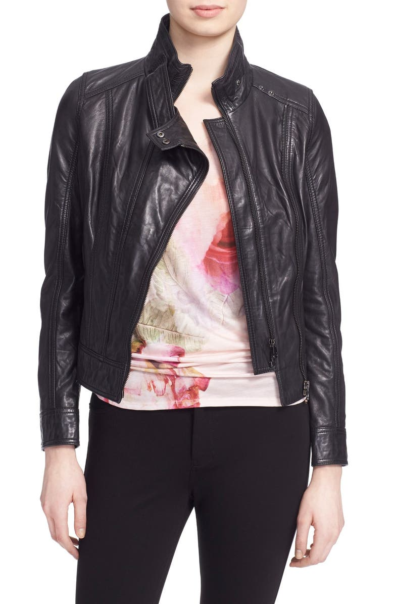 TED BAKER LONDON 'Roark' Stand Collar Leather Jacket, Main, color, 001