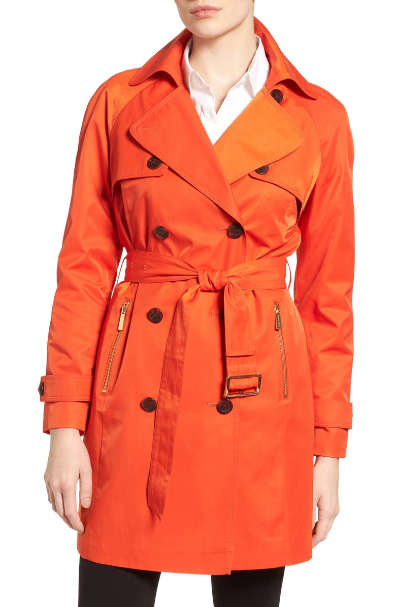 MICHAEL MICHAEL KORS Belted Double Breasted Trench Coat, Main, color, 812