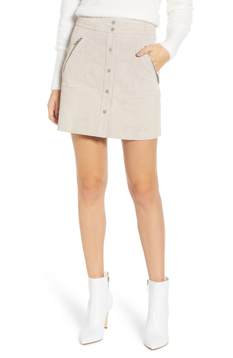 BLANKNYC Snap Front Suede Miniskirt, Main, color, 250