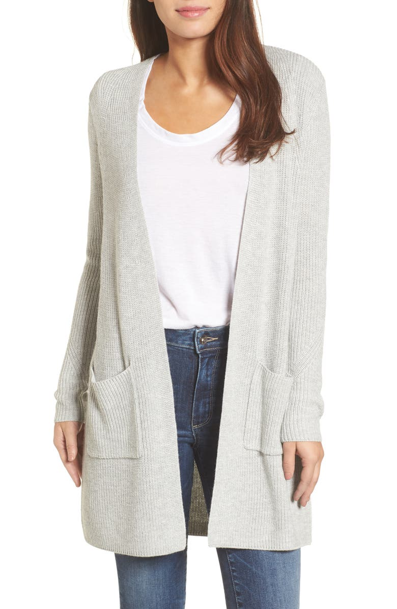 HALOGEN<SUP>®</SUP> Long Ribbed Cardigan, Main, color, GREY LIGHT HEATHER
