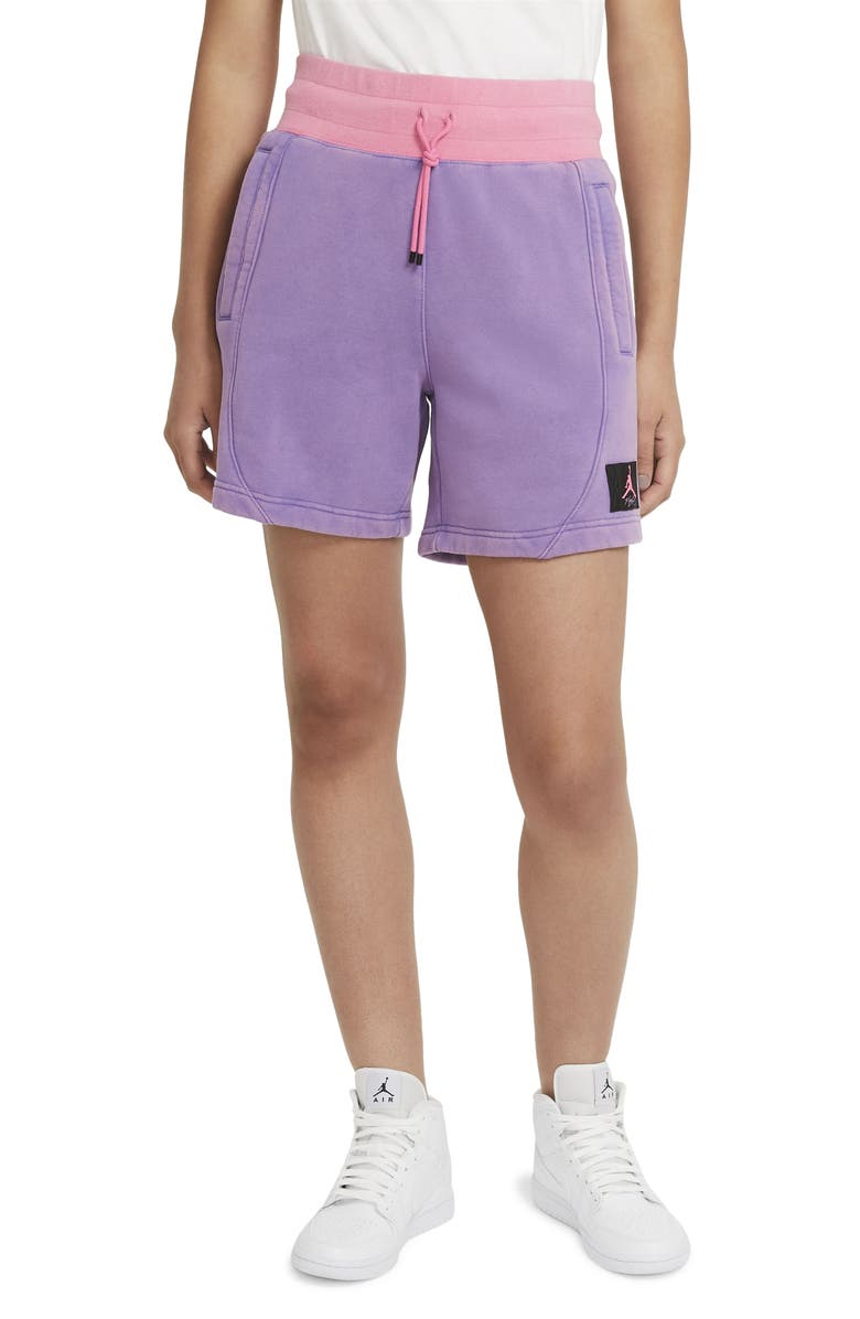 JORDAN Flight Fleece Shorts, Main, color, WILD VIOLET/ PINK