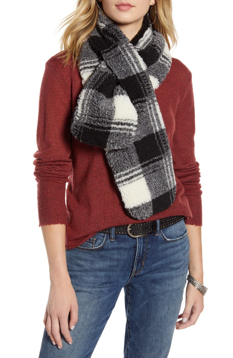 TREASURE & BOND Faux Shearling Pull Through Scarf, Main, color, 001