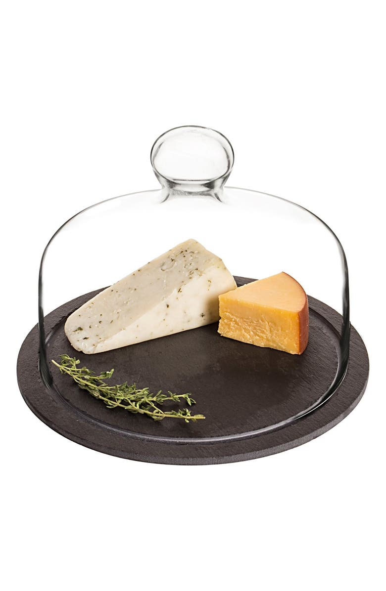 CATHY'S CONCEPTS Monogram Slate Tray & Glass Dome, Main, color, Black