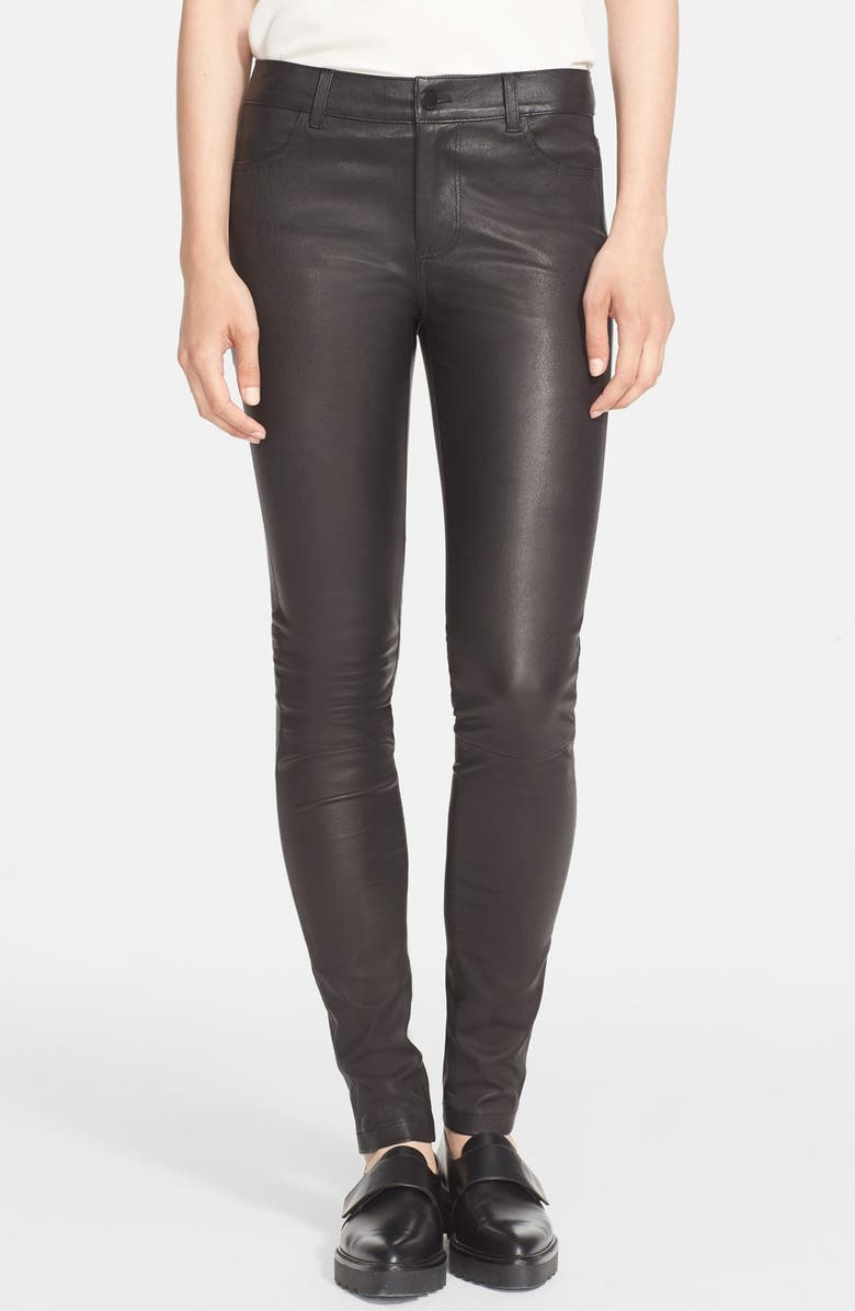 VINCE Five-Pocket Leather Pants, Main, color, 001